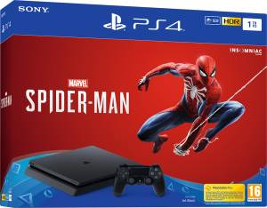 Sony Computer Ent. PS4 Console 1TB E Chassis Slim Black + Marvel's Spider-Man