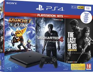 Sony Computer Ent. PS4 Console 1TB F Chassis + Uncharted 4 + Ratchet & Clank + The Last Of Us (Hits)