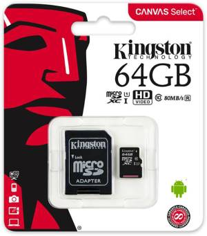 Kingston Micro SD Kingston 64GB Classe 10 SDCS/64GB + Adattatore SD