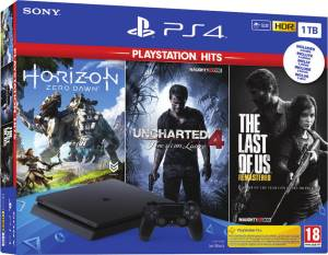 Sony Computer Ent. PS4 Console 1TB F + Uncharted 4 + Horizon Zero Dawn Complete + The Last Of Us (PS Hits) EU