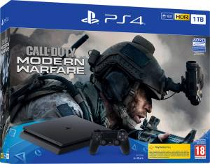 Sony Computer Ent. PS4 Console 1TB F Chassis Black + Call of Duty: Modern Warfare