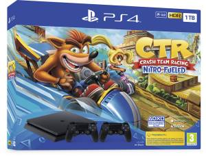 Sony Computer Ent. PS4 Console 1TB Black + Crash Team Racing + 2 Dualshock 4 V2