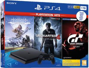Sony Computer Ent. PS4 Console 1TB + Uncharted 4 + Horizon Zero Dawn Complete + GT Sport (PSHits)