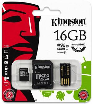 Kingston Micro SD Kingston 16GB Cl. 10 MBLY10G2/16GB + Adatt. SD + Adatt. USB