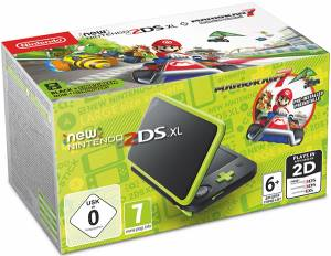 Nintendo New 2DS XL Console Nero + Lime + Mario Kart 7