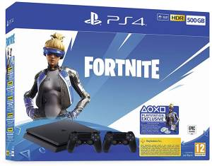 Sony Computer Ent. PS4 Console 500GB F Chassis Black + Fortnite VCH (2019) + 2 Dualshock V2
