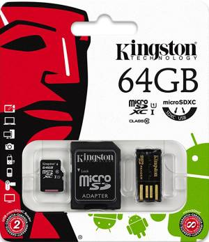 Kingston Micro SD Kingston 64GB Cl. 10 MBLY10G2/64GB + Adatt. SD + Adatt. USB
