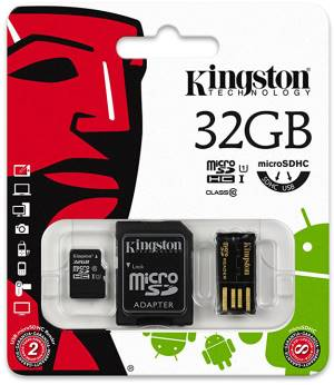 Kingston Micro SD Kingston 32GB Cl. 10 MBLY10G2/32GB + Adatt. SD + Adatt. USB